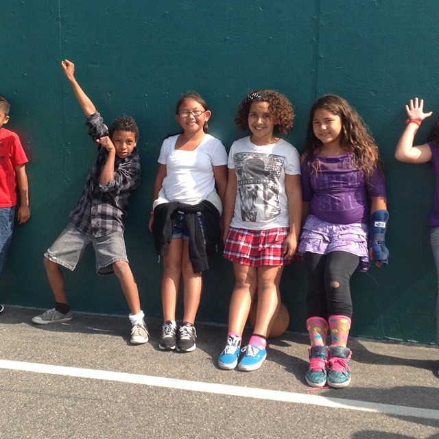 Warren fourth graders pose on the handball courts. Let's go class of 2026!